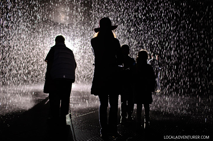 The Rain Room at LACMA Museum - Los Angeles California.