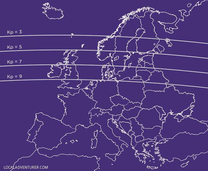 Aurora Activity - Kp Index Map Europe // localadventurer.com