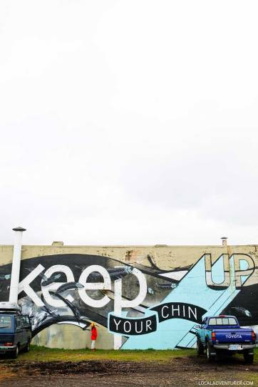 Keep Your Chin Up Mural by Blaine Fontana + Zach Yarrington + Jun Inoue + Guide to the Best Portland Murals // localadventurer.com