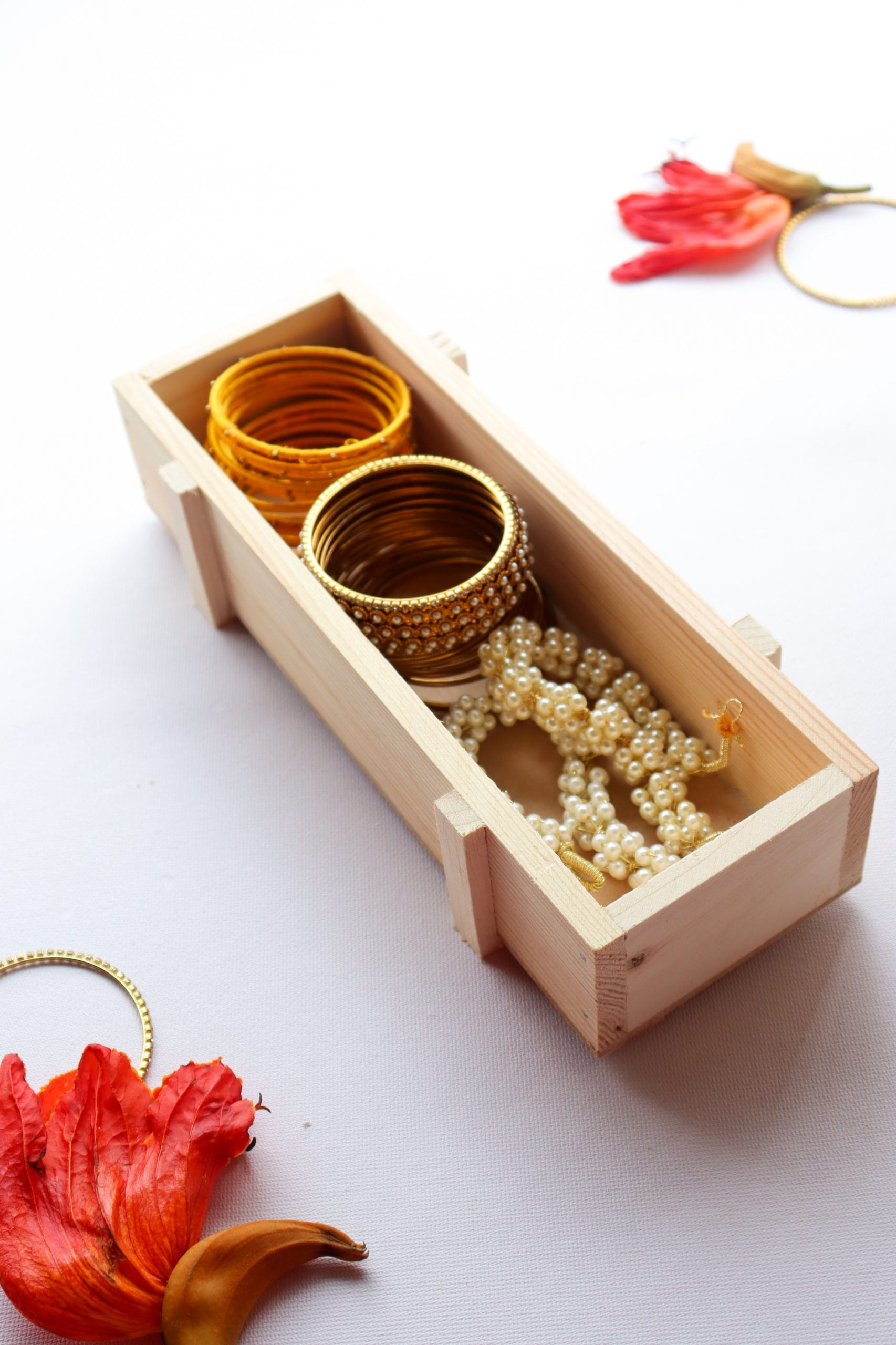 Wooden tray for jewellery by Local Choice