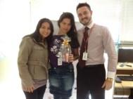 Dejayne Rodrigues (coordenadora filial Curitiba), Luana Gregório (recuperadora premiada filial Curitiba) e André Machado (supervisor filial Curitiba)