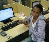 Tamires Paulino (premiada com o Desafio de Páscoa) na equipe BV Telecobrança na Matriz