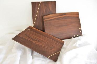 Walnut and Brass Cheese Board Isles Interiors $85 www.islesinteriors.com