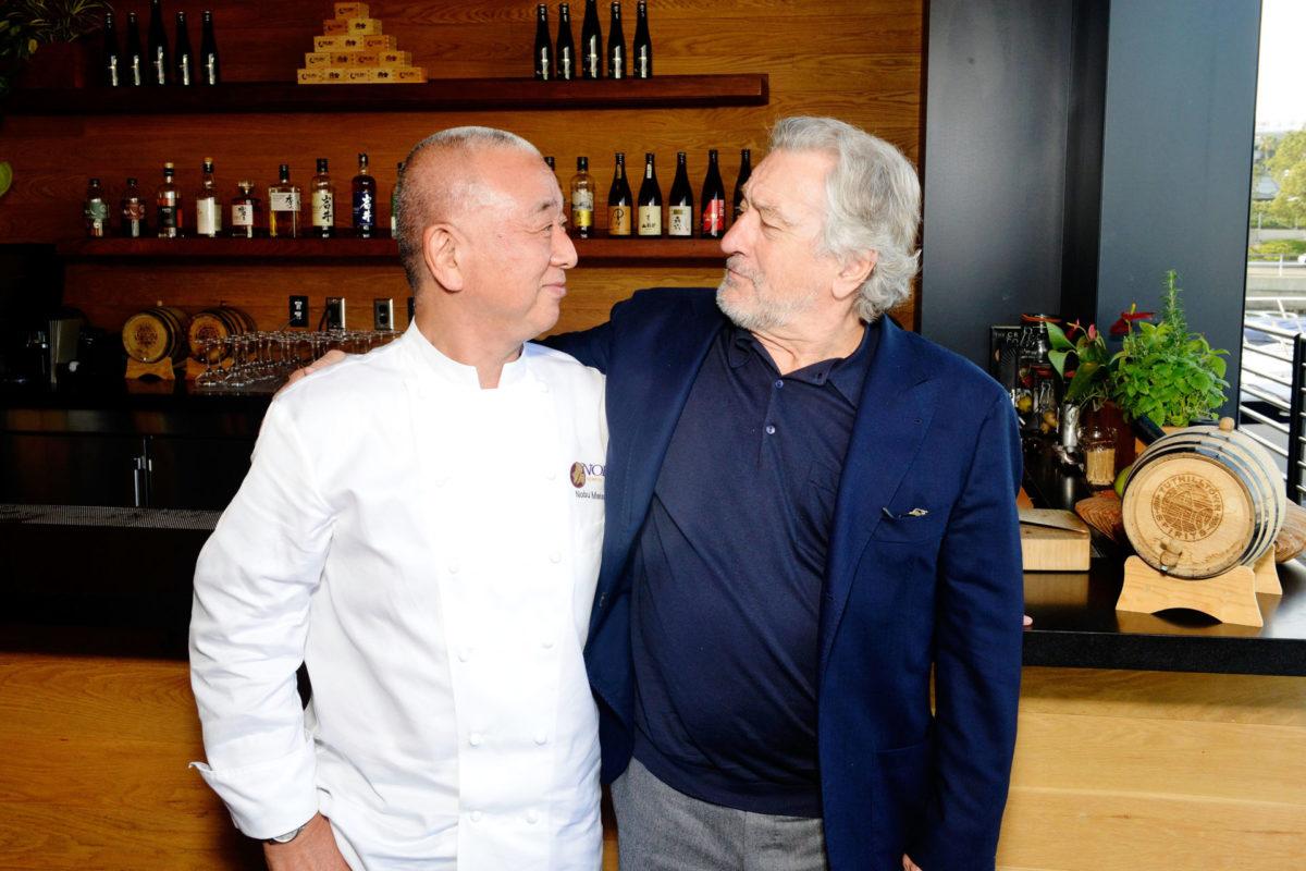 Nobu Matsuhisa and Robert De Niro at the Nobu Newport Beach Grand Cordon Bar_looking