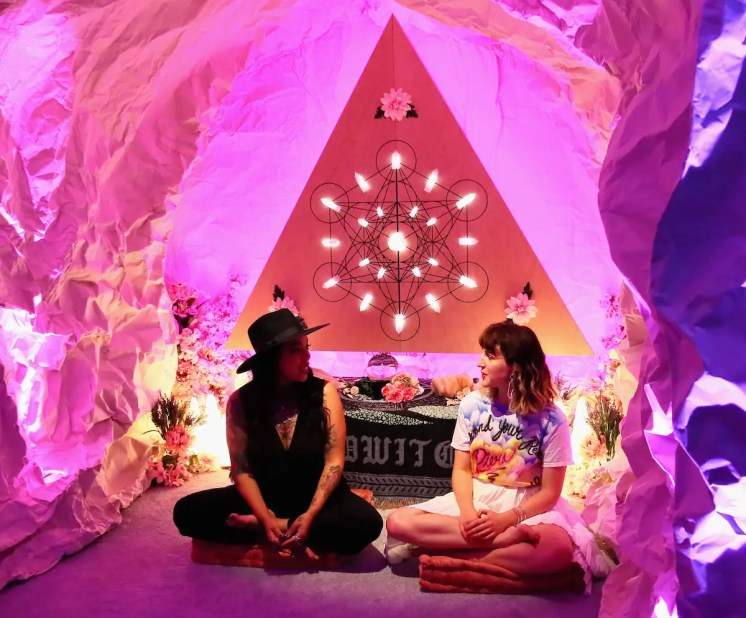 BROOKLYN, NY - SEPTEMBER 05: Brie Luna and Executive creative director and co-founder of Refinery29, Piera Luisa Gelardi attend Refinery29 29Rooms New York 2018: Expand Your Reality Opening - Press Preview on September 5, 2018 in Brooklyn, New York. (Photo by Astrid Stawiarz/Getty Images for Refinery29)