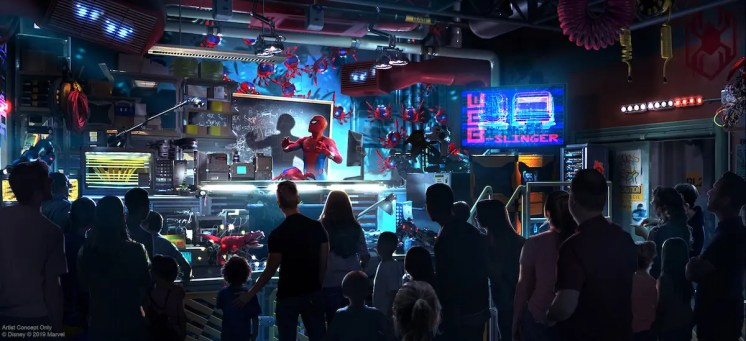 The Avengers Campus will open in 2020 at Disney California Adventure at Disneyland Resort, including the first Disney ride-through attraction to feature Spider-Man. The attraction will give guests a taste of what it's like to have actual super powers as they sling webs to help Spider-Man collect Spider-Bots that have run amok. (Disney/Marvel)