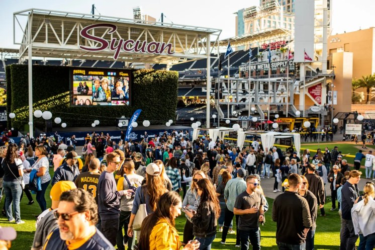 May 17, 2019, San Diego, CA: Fans enjoy Winefest before the San Diego Padres face the Pittsburgh Pirates at Petco Park in San Diego, California on Friday, May 17, 2019. (Photo by Matt Thomas/San Diego Padres)