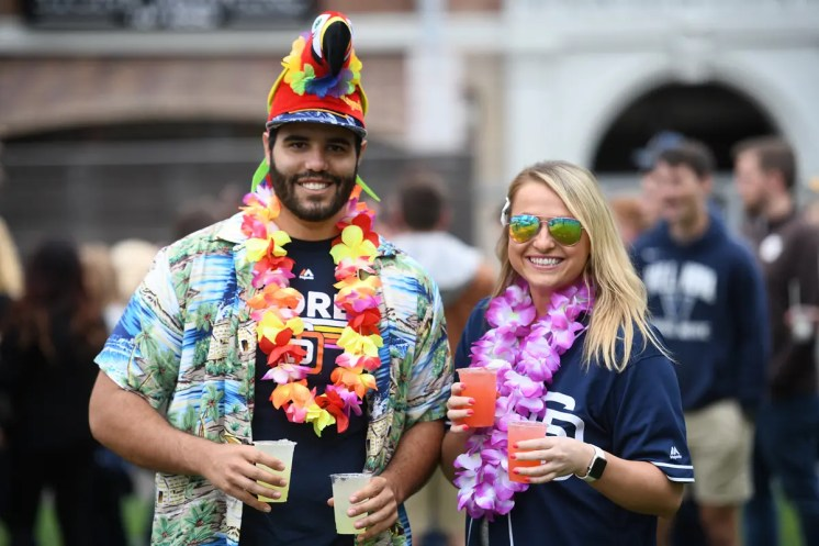 SAN DIEGO, CA - JUNE 7: Fans of the San Diego Padres particulate in pre game Margaritaville festivities at the Park at the Park during the game against the Washington Nationals on June 7, 2019 at PETCO Park in San Diego, California. (Photo by Andy Hayt)