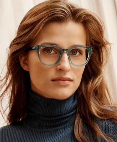 Della in Viridian eyeglasses starting at $95. Add blue-light-filtering lenses to any pair, with or without a prescription, for an additional $50.