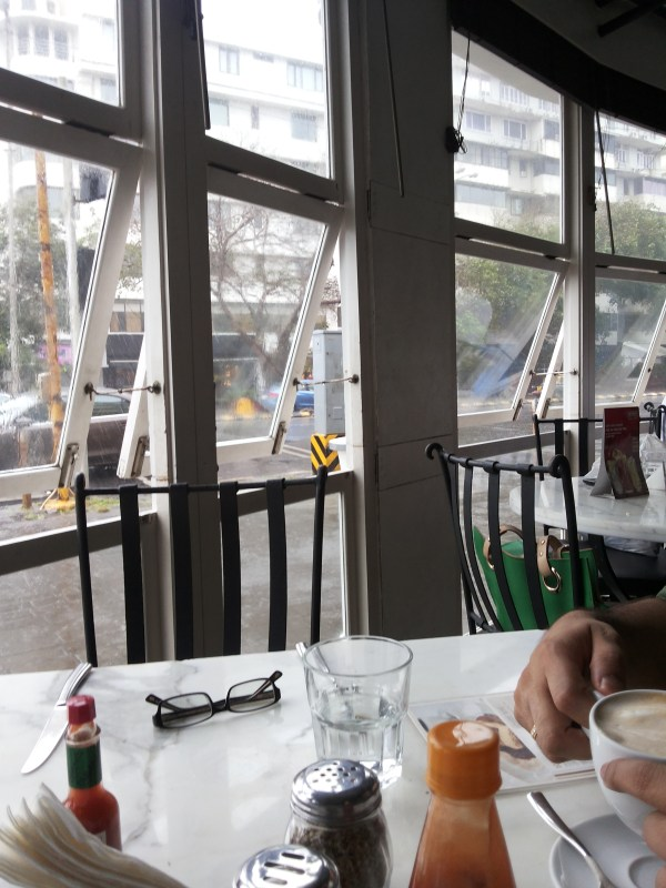pizza by the bay window seat
