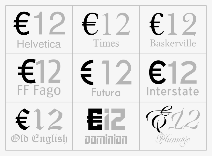 Euro Sign Variants
