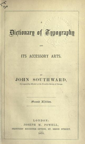 Dictionary of typography by J. Southward
