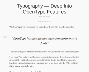 Typography - Deep Into OpenType Features by Ricardo Magalhães