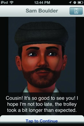 A character in Jornadas. May used The Sims to create consistent and relevant portraits for her game.