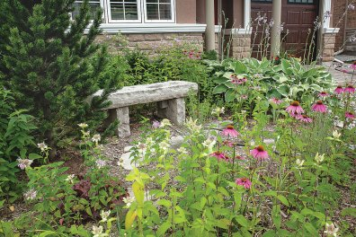 Create destinations in the garden where folks can go to sit in peace and enjoy the artistic creation.