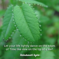 Let your life lightly dance on the edges of time like dew on the tip of a leaf. ~Rabindranath Tagore