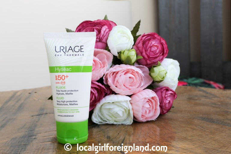 Uriage Hyséac fluid sunscreen spf 50+ UVA.