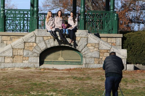 IT'S NOT ALWAYS easy to get everyone to sit still for a holiday picture, as this shot at the Bandstand shows. (Donna Larsson Photo)