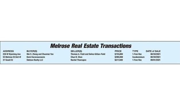 Melrose Real Estate Transactions published September 24, 2021