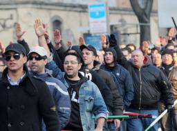 Un corteo di Forza Nuova a Bergamo