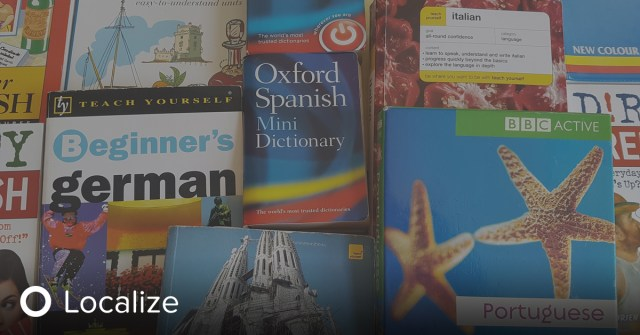 The Evolution of Localization with New Tech. A collage of books, each one teaching a different language.