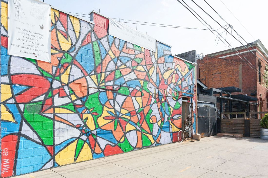 Colorful mural on building