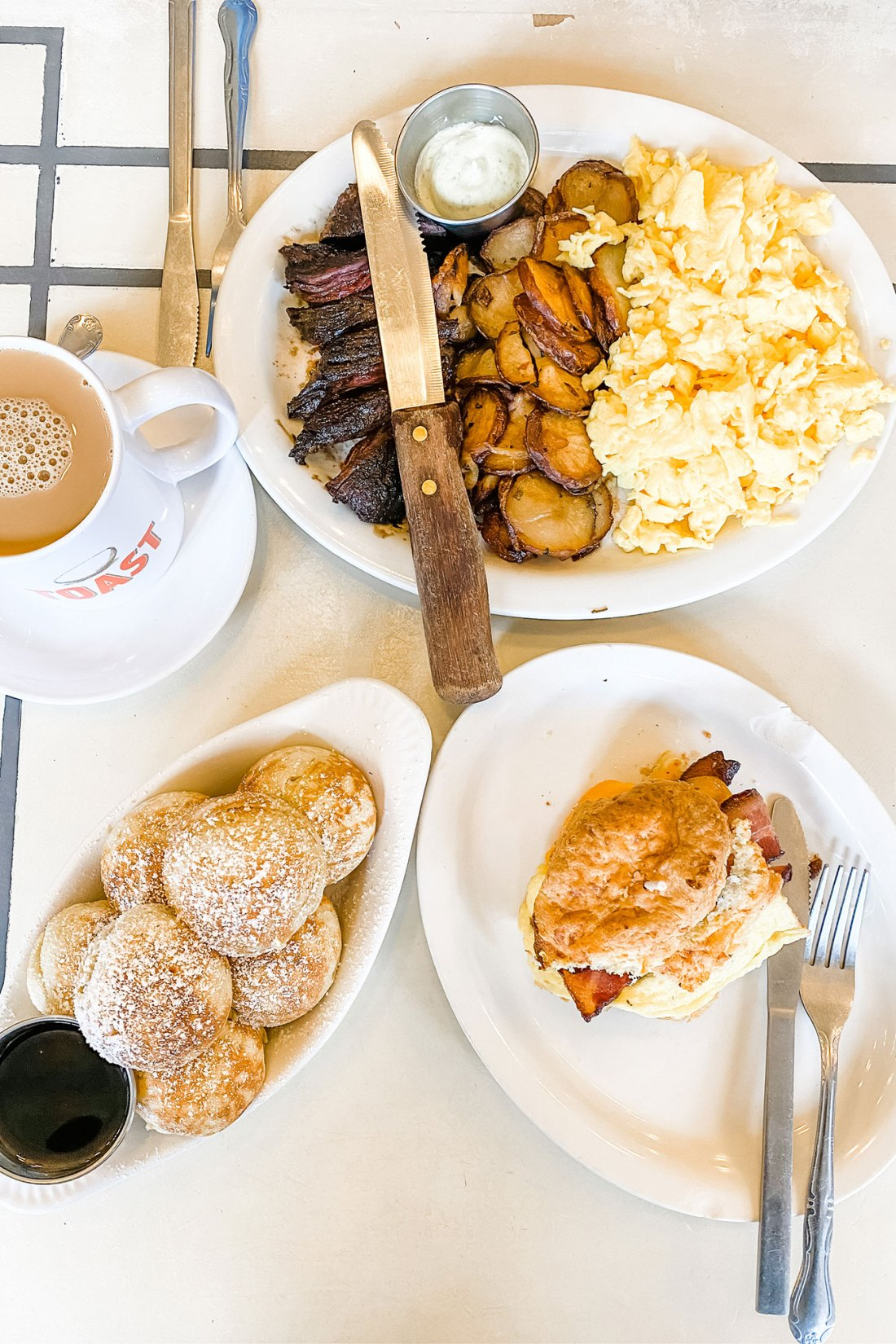 Breakfast dishes set out on table