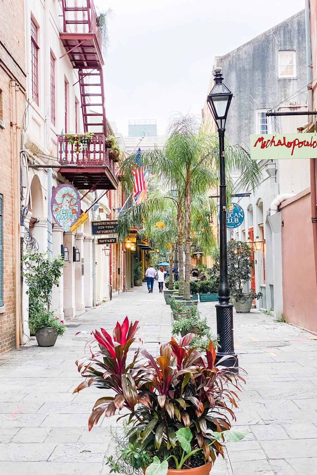 Colorful homes surrounding courtyard