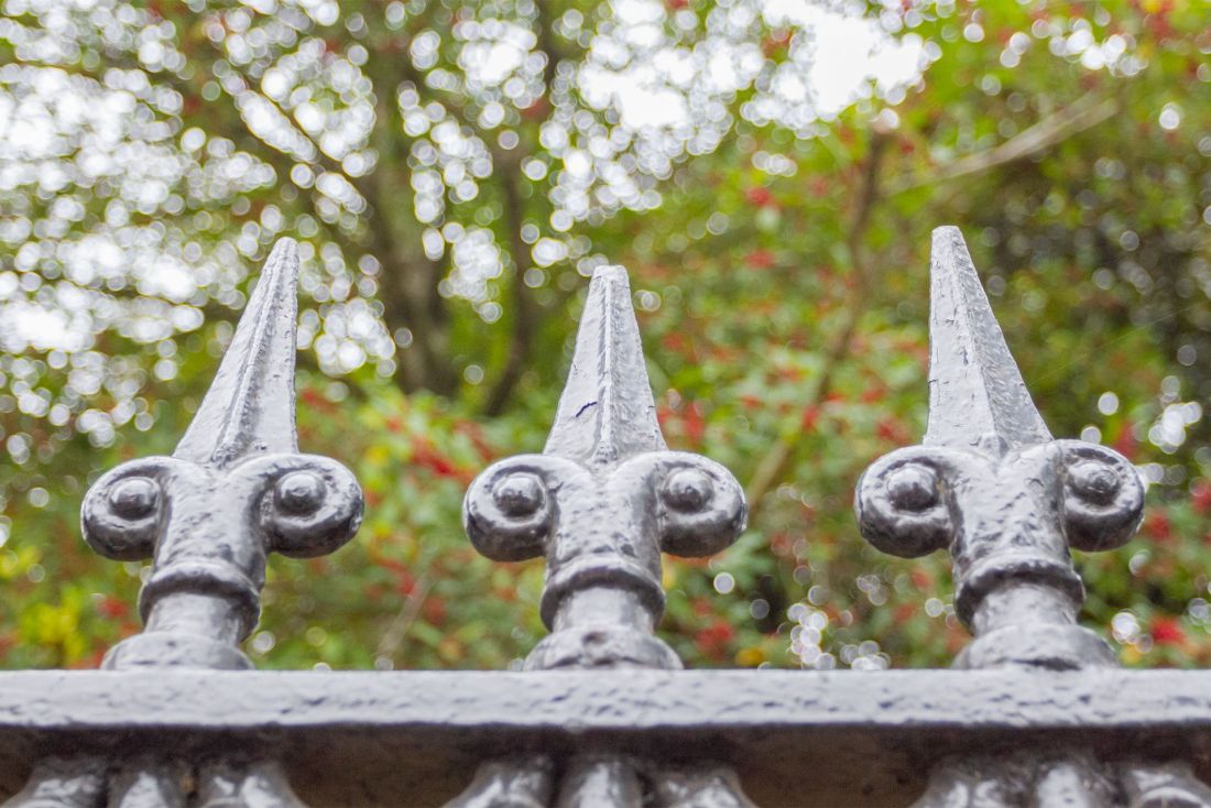 Wrought Iron fence with Fleur de Lis finials in New Orleans