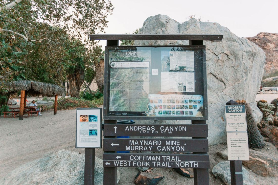 Park Signage for Indian Canyon Palm Springs