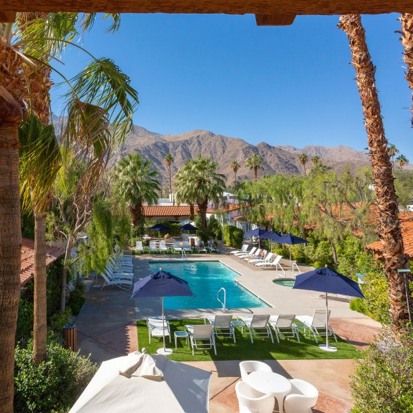 Pool scene at Palm Springs Alcazar Hotel
