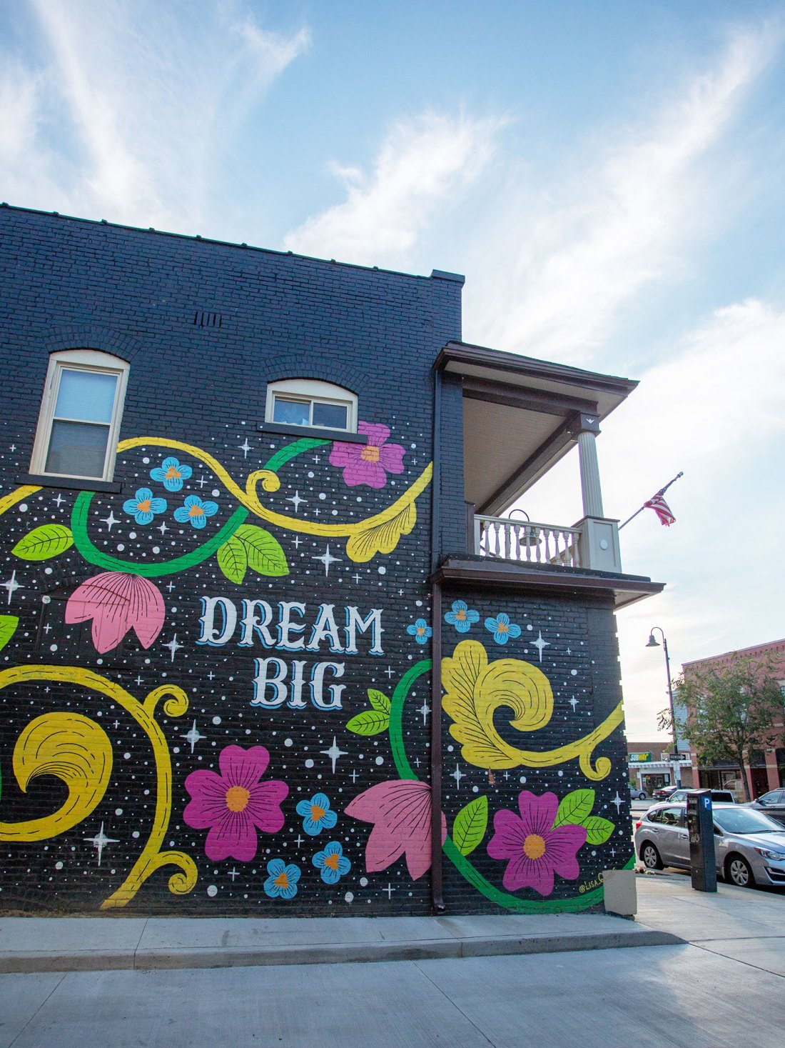 Mural by Lisa Quine in Gordon Square Detroit-Shoreway Neighborhood in Cleveland, Ohio.