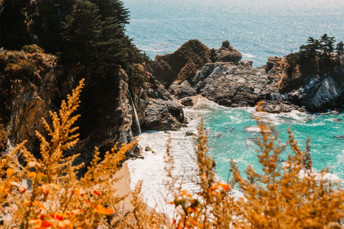 Waterfall into the Pacific Ocean at McWay Falls, Big Sur California | as seen on the Local Love and Wanderlust Blog