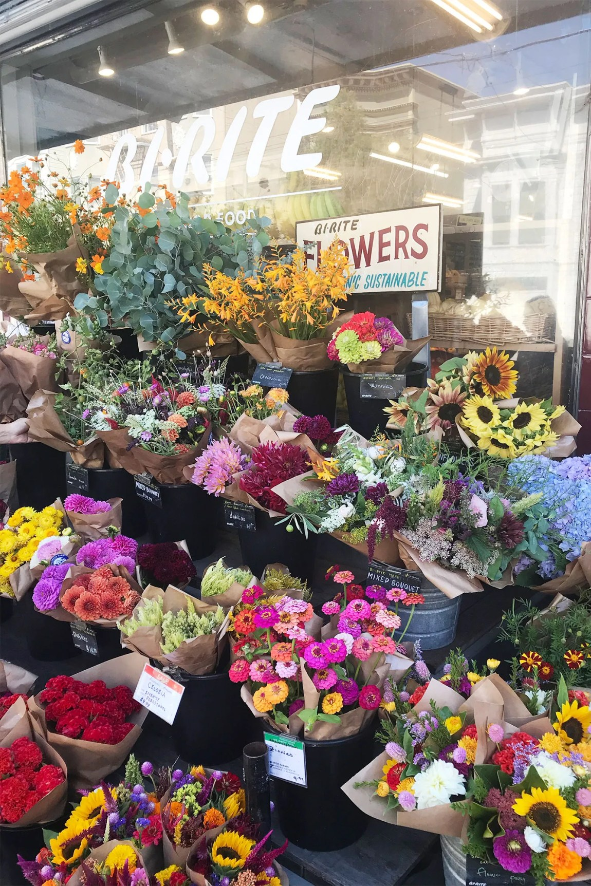 Flowers outside of the Bi-Rite
