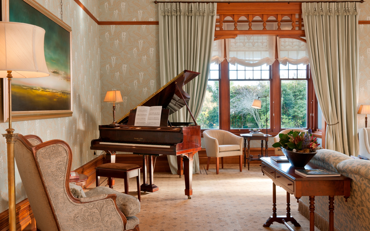 Otahuna Lodge Piano and Sitting Room
