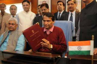 Railway Minister Suresh Prabhu before announcing this year's railway budget