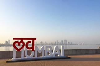 A 'Love Mumbai' installation at Marine Drive.