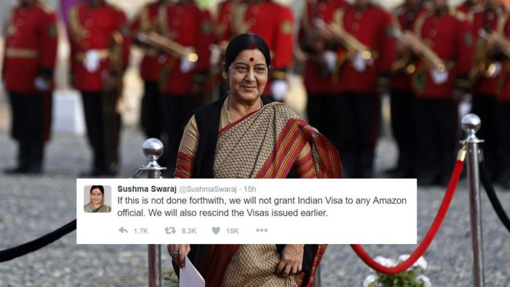 Amazon removes doormats with Indian flag after Sushma Swaraj threatens to stop granting visa to its employees