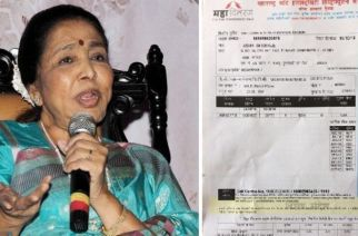 Asha Bhosle (left: copy of the electricity bill)