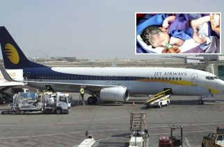 The airline has offered the newly-born a free lifetime pass for all his travel on Jet Airways (Inset: The baby born on the airline, Courtesy: ABP Majha)