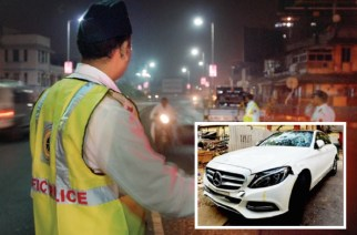 Representational Image of a police nakabandi (inset: Shah's Mercedes. Courtesy: Mumbai Mirror)