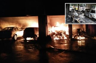 Parking lot engulfed in fire (inset: aftermath of fire)