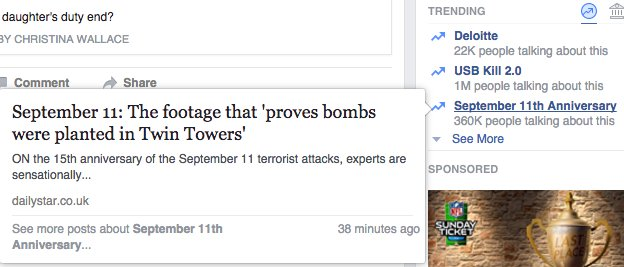 Facebook puts hoax story about 9/11 attacks on top of 'Trending Topics'