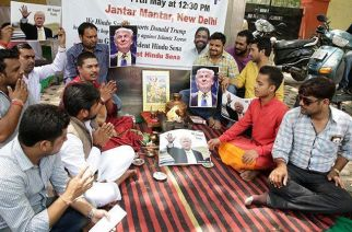 Hindu Sena performing havan for Donald Trump's victory