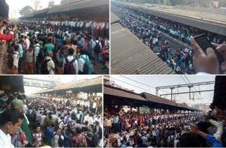 Angry commuters protesting at Titwala station