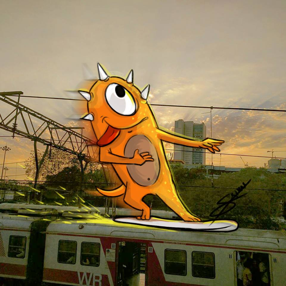 In pictures: Artist adds 'monsters' to daily life in Mumbai 13