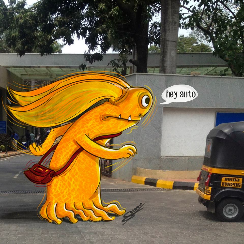 In pictures: Artist adds 'monsters' to daily life in Mumbai