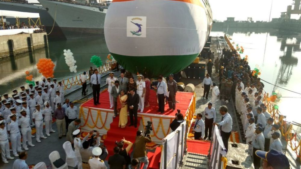 Indian Navy's second Scorpene class submarine 'INS Khanderi' launched at Mazgaon, Mumbai 2