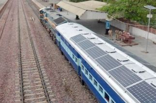 Pictured: India's first solar powered train Image Courtesy: Northern Railway