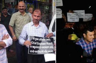 MNS workers shaming Darade (left), Sanjay Deshpande at Shivaji Park Police station